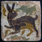 Tile - with figure of a rabbit