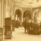 Exhibition photograph - ground floor gallery of Museum of Applied Arts, with ornamental ceiling paintings