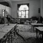 Architectural photograph - reading room of the Museum of Applied Arts with bullet marks after the 1956 revolution