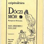 Advertisement card - for the shoe merchant Mór Dóczi
