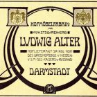Advertisement card - carpenter Ludwig Alter, Darmstadt