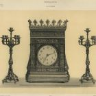 Design sheet - design for a pair of candlesticks and clock