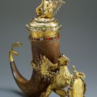 Drinking horn and cover - with figures of griffin and mermaid