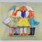 Ceramic picture - women in folk costumes holding each other