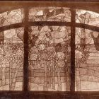 Interior photograph - glass window of the dining hall in the Andrássy Castle, Tiszadob