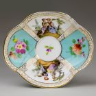 Small bowl - decorated with flowers and genre scenes