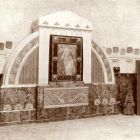 Exhibition photograph - entrance hall of the Hungarian Pavilion with the Madonna glass mosaic of Miksa Róth, Milan Universal Exposition 1906