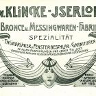 Advertisement card - Klincke Bronze and brass Goods Factory, Iserlohn