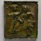 Stove tile - depicting a quarelling couple (the wife whipping her husband)