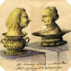 Caricature - on the goldsmith's exhibition of 1884 (wit the portraits of Ferenc Pulszky and Arnold Ipolyi)