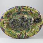 Oval dish - in the style of Bernard Palissy, with snake