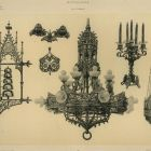 Design sheet - chandelier, sanctuary lamp, candelabrum, inkstand, bell post