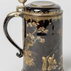 Tankard with lid - with chinoiserie lacquer painting - tankard of Ágost Erős