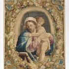 Wall hanging - Madonna and Child surrounded ba a garland of flowers and sundials