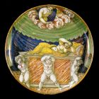 Istoriato plate - the scene of Jupiter and Semele