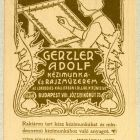 Advertisement card - for Adolf Gertler's embroidery and drawing studio