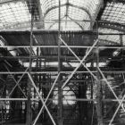 Interior photograph - scaffolding in the great hall of the Budapest Museum of Applied Arts during the reconstruction works in 1967-1968