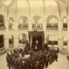 Interior photograph - King Franz Joseph I at the capstone ceremony of Museum of Applied Arts on October 25, 1896