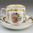 Coffee cup with saucer - with putti