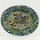 Oval dish - in the style of Bernard Palissy, with lizard