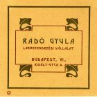 Advertisement card - for Gyula Radó's decorator company
