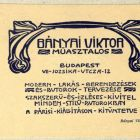 Advertisement card - for the carpenter Viktor Bányai