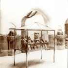 Exhibition photograph - display cabinet with Fülöp Ö. Beck's statuettes, exhibition hall in the Hungarian Pavilion, Milan Universal Exposition 1906