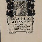 Advertisement card - József Walla's Mosiac and Concrete Goods Factory