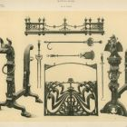 Design sheet - andiron, stand for fire tools, fireplace screen