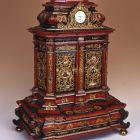 Small cupboard with a clock - with chinoiserie decoration and a clock