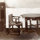 Exhibition photograph - game table and armchair, Christmas Exhibition of The Association of Applied Arts 1901