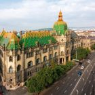 Architectural photograph - main facade and the Hőgyes street side facade, Museum of Applied Arts
