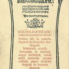 Advertisement card - for Jenő Vágó's fancy goods shop