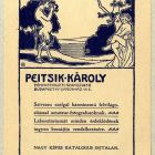 Advertisement card - for Károly Peitsik Photographer's Shop