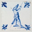 Tile - with Dutch musketeer figure