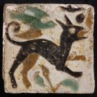 Tile - With figure of a dog