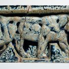 Architectural ceramics - frieze element depicting a tiger (from the Bigot-pavilion)
