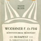 Advertisement card - for Fülöp Wodianer & Sons printing house