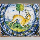 Floor tile - with running rabbit -from the Santa Maria dei Piattalletti Church of Fano