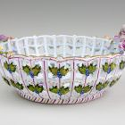 Ceramic basket - With modelled and painted flowers