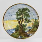 Ornamental plate - with seaside landscape