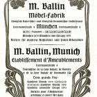 Advertisement card - M. Ballin Furniture Factory, Munich