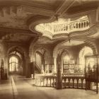 Interior photograph - first floor vestibule of Museum of Applied Arts, with ornamental ceiling paintings